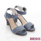 【BESO】簡約時尚 全真皮素面水鑽包跟高跟涼鞋(藍)