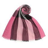 BURBERRY 英倫格紋絲綢混紗流蘇薄圍巾-粉色