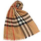 BURBERRY 新款英倫格紋羊毛混絲流蘇圍巾-駝色