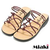 【Miaki】MIT 涼鞋韓國造型平底休閒拖鞋 (暗紅色)