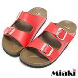 【Miaki】MIT 涼鞋夏季經典平底休閒拖鞋 (紅色)