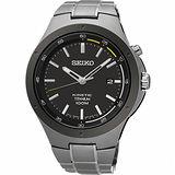 SEIKO Kinetic 鈦 科技人動電能腕錶-黑x銀灰/43mm 5M82-0AT0D(SKA715P1)