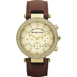 Michael Kors 美式奢華晶鑽三眼計時腕錶-金/38mm MK2249