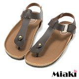 【Miaki】MIT 涼鞋精選夏季平底夾腳拖鞋 (咖啡色)
