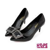 【HOPE】《韓國直送》璀璨鑲鑽方環漆皮尖頭高跟鞋–黑(K160DF3007)