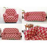 【Osun】一體成型防蹣彈性沙發套、沙發罩圖騰款(紅色金盞花-四人座)CE-173