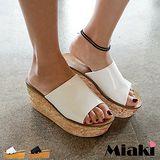 【Miaki】涼鞋韓版設計加厚底露趾拖鞋 (白色 / 黑色)