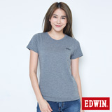 EDWIN 涼感LOGO圓領短袖T恤-女-麻灰