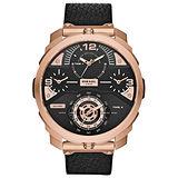 DIESEL 狄法克四時區競速時尚男錶-玫瑰金框黑x黑色錶帶