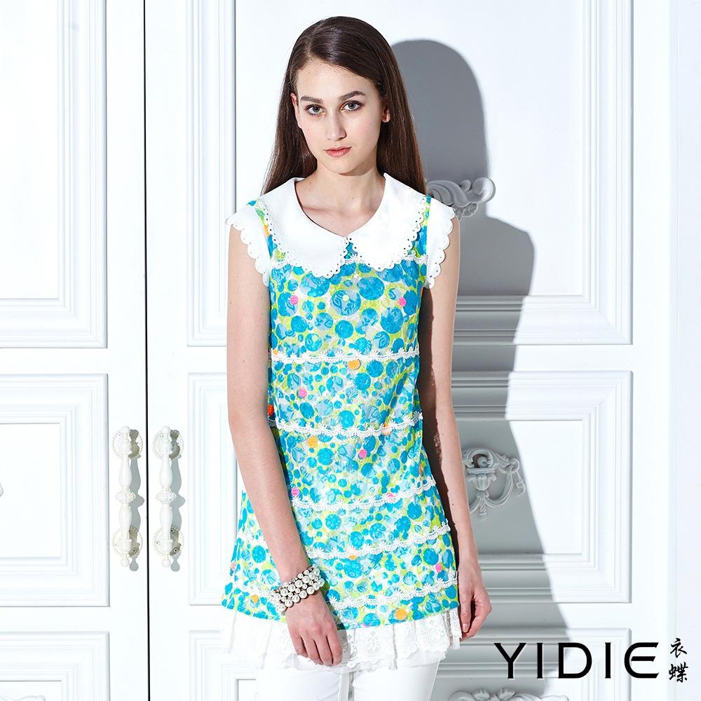 【YIDIE衣蝶】花瓣領俏麗圓點繡花蕾絲上衣