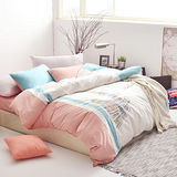 Neutral / Color 色階刺繡-大鐘讚歌(珊瑚橙) 雙人四件式被套床包組