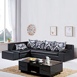 【AS】杰羅姆L型黑色皮沙發