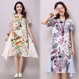 【韓國K.W.】民族風水墨印花拼接棉麻寬鬆洋裝