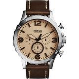 FOSSIL Nate 世紀戰神三眼計時腕錶-棕/50mm JR1512