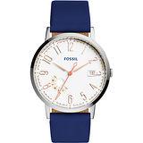 FOSSIL Vintage 美式復刻風尚腕錶-白x藍/40mm ES3989