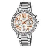 CASIO SHEEN 甜心奢華三眼計時晶鑽女用腕錶-34mm/SHE-3036D-7A
