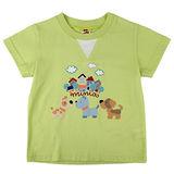 【愛的世界】MYBABY 小狗郊遊去系列純棉圓領短袖T恤-果綠/2~4歲-台灣製-