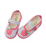 【愛的世界】IDCJ 草莓園帆布鞋/娃娃鞋-淺藍/15-16CM-中國製-