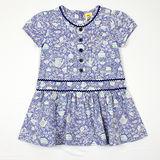 【愛的世界】MYBABY 午茶時光系列純棉包袖拉鍊洋裝/10~12歲-台灣製-
