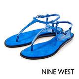 NINE WEST--沁涼夏日T字涼鞋--天空藍