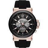 Michael Kors Dylan 碳纖維元素鏤空機械腕錶-玫瑰金框x黑/48mm MK9019