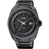 CITIZEN Eco-Drive 黑色時尚三針光動能錶-IP黑/42mm/AW1015-53E