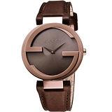GUCCI Interlocking 時尚元素腕錶-咖啡x玫塊金框/37mm YA133309