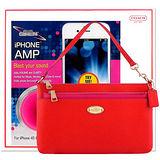 COACH 橘紅色手提包-附可拆長夾+CLUB SIREN 桃紅色揚聲器-iPhone專用