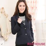 RED HOUSE-蕾赫斯-V領修身西裝外套(藍色)