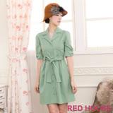 RED HOUSE-蕾赫斯-翻領五分袖外套式洋裝(淺綠色)