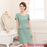 RED HOUSE-蕾赫斯-素色珍珠腰鍊合身洋裝(淺綠色)