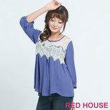 RED HOUSE-蕾赫斯-鏤空蕾絲七分袖上衣(藍色)