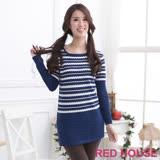 RED HOUSE-蕾赫斯-不規格條紋長版上衣(藍色)