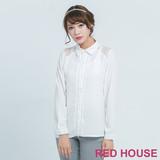 RED HOUSE-蕾赫斯-葉子蕾絲肩膀拼接上衣(白色)