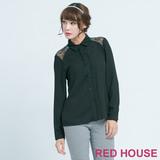 RED HOUSE-蕾赫斯-葉子蕾絲肩膀拼接上衣(黑色)