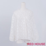 RED HOUSE-蕾赫斯-滿版雲朵網狀上衣(白色)