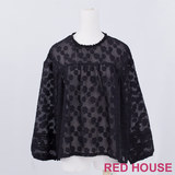 RED HOUSE-蕾赫斯-滿版雲朵網狀上衣(黑色)