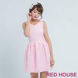 RED HOUSE-蕾赫斯-滿版壓線花朵洋裝(粉色)