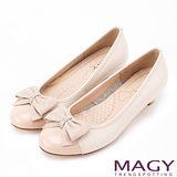MAGY 甜美混搭新風貌 閃亮鑽飾羊絨蝴蝶結低跟鞋-粉色