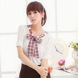 日本CIELO 現貨-俏麗格紋蝴蝶結袖抓皺上衣(白色)