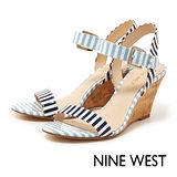 NINE WEST--彩色條紋楔型涼鞋--海洋藍