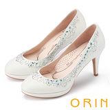 ORIN 晚宴婚嫁首選 鞋緣不規則耀眼水鑽高跟鞋-白色
