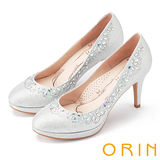 ORIN 晚宴婚嫁首選 鞋緣不規則耀眼水鑽高跟鞋-銀色