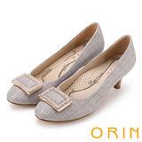 ORIN 時尚魅力 方型飾釦水鑽優雅中跟鞋-米色