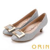 ORIN 時尚魅力 方型金屬飾釦優雅中跟鞋-灰色