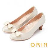 ORIN 甜美輕熟OL 金屬立體織帶蝴蝶結羊皮中跟鞋-白色