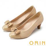 ORIN 甜美輕熟OL 金屬立體織帶蝴蝶結羊皮中跟鞋-淺棕