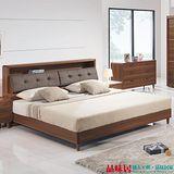 【品味居】歐夏 胡桃木紋5尺雙人床台組合(床頭片+床底+不含床墊)