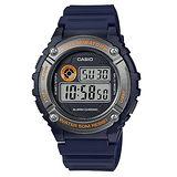 CASIO 極簡酷炫運動腕錶-藍x橘