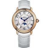 AEROWATCH 歐式風尚月相顯示經典女錶-玫瑰金框x白/35mm A43960RO01